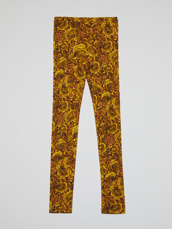 Yellow Floral Print Leggings
