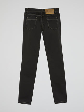 Black Contrast Stitch Jeans