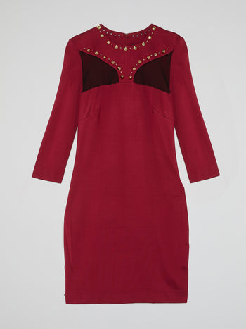 Red Studded Long Sleeve Dress