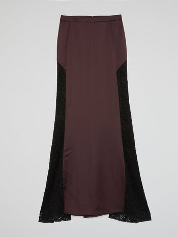 Brown Lace Panel Flared Maxi Skirt