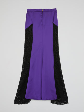 Purple Lace Panel Flared Maxi Skirt