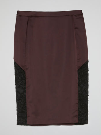 Brown Lace Panel Pencil Skirt