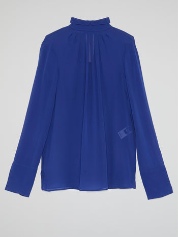 Blue High Neck Shirt