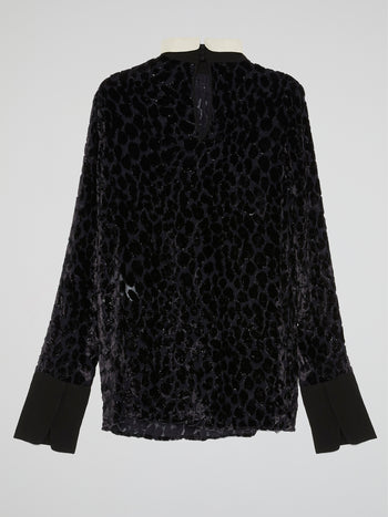 Black Glittered High Neck Shirt