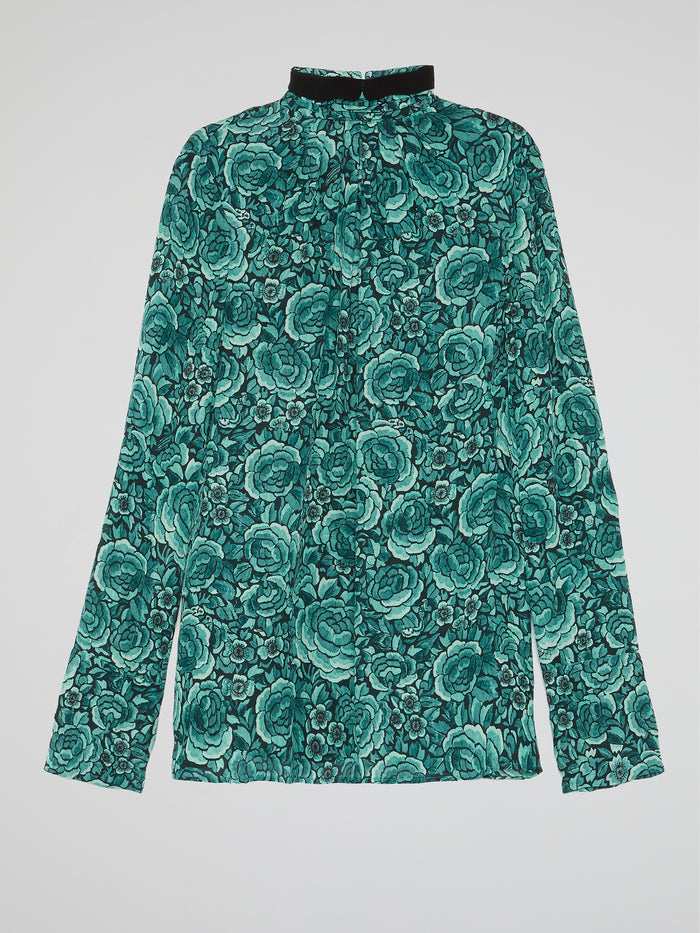 Green Floral High Neck Shirt