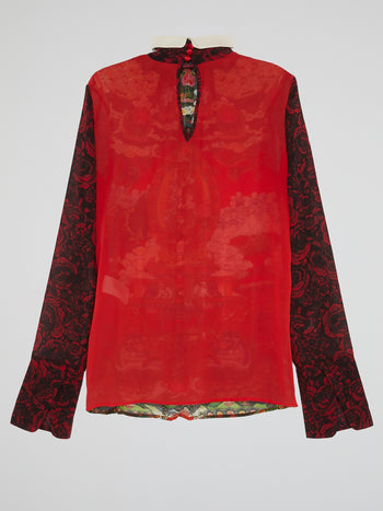 Oriental Print High Neck Shirt