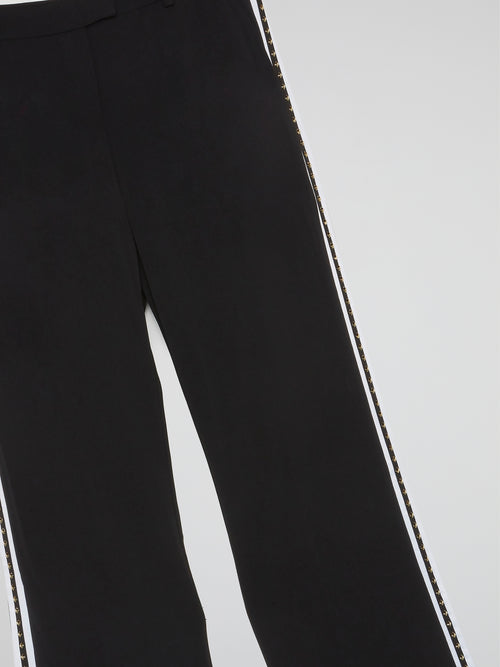 Black SIde Studded Bootcut Pants