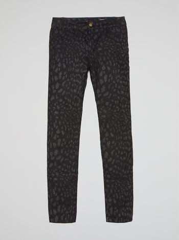 Black Glittered Leopard Print Trousers