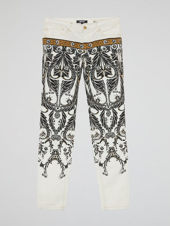 White Jacquard Print Trousers