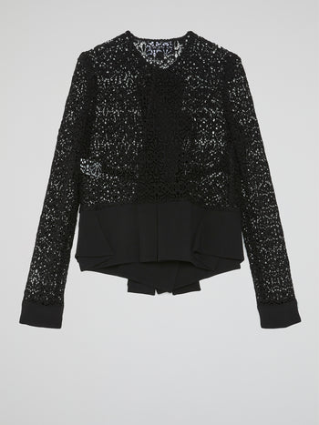 Black Pleated Hem Lace Blouse