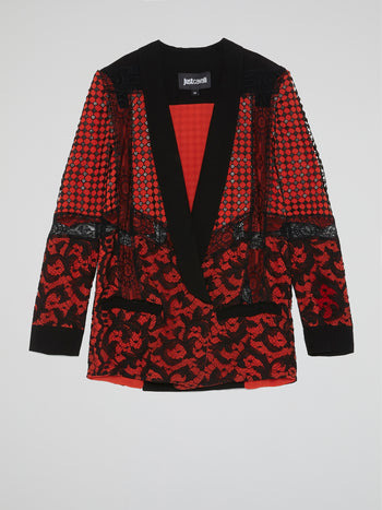Red Lace Detail Blazer