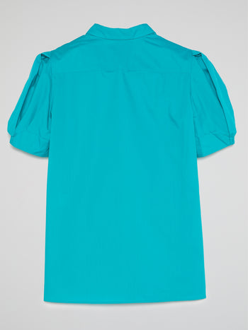 Blue Puff Sleeve Top