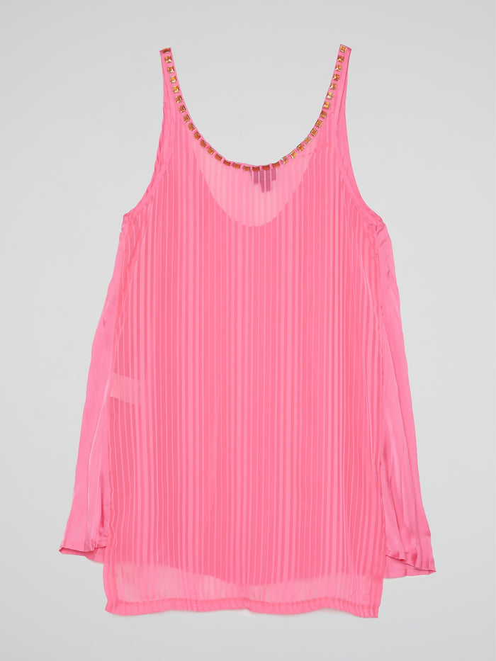 Pink Embellished Sleeveless Top
