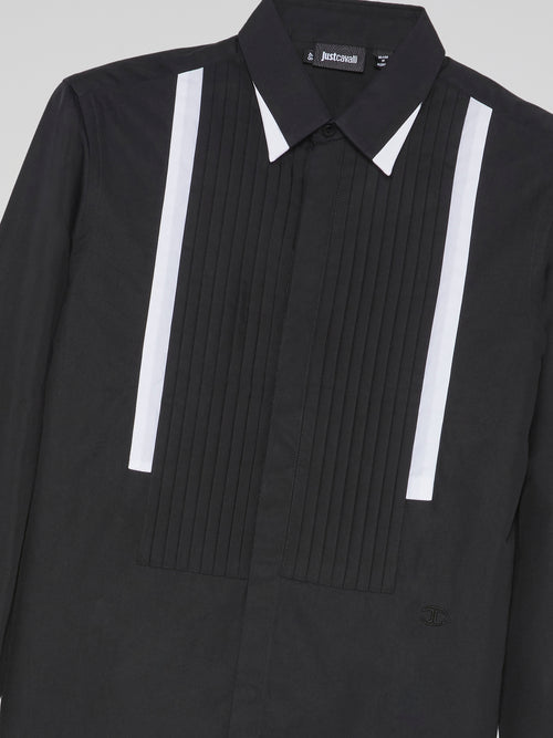 Black Pleated Bib Shirt