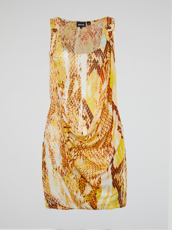 Yellow Reptile Print Cowl Mini Dress