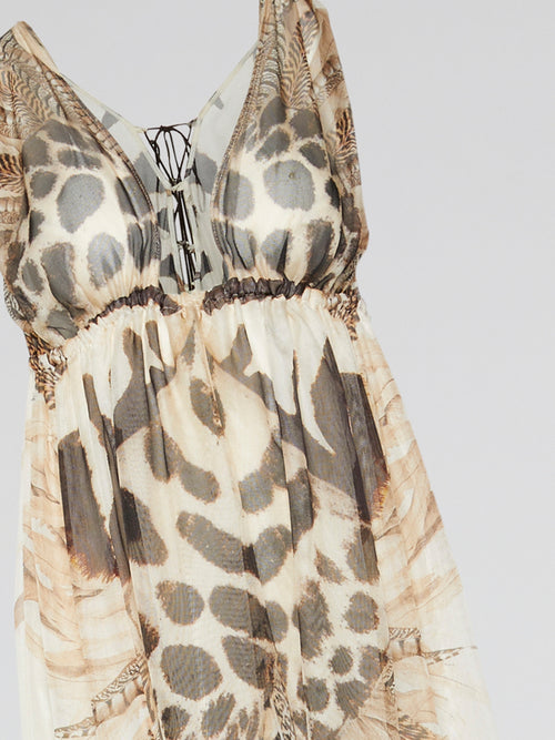 Animal Print Frill Hem Maxi Dress