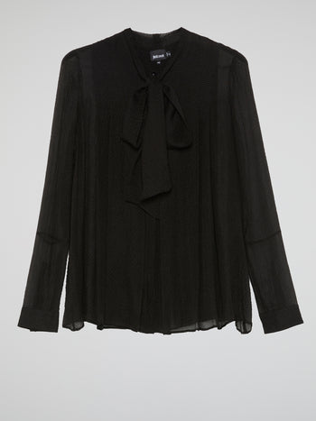 Black Bow Tie Knit Blouse