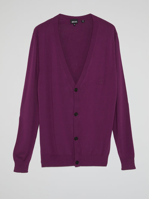 Purple Button Up Cardigan