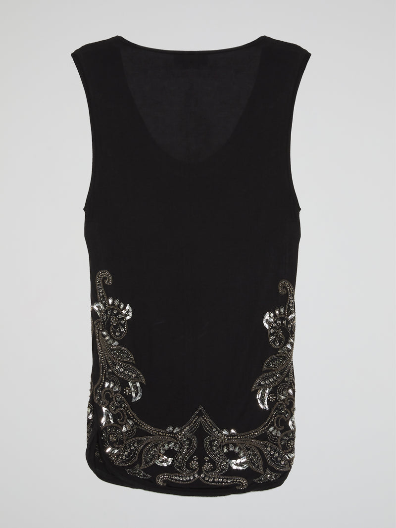 Black Crystal Embellished Top