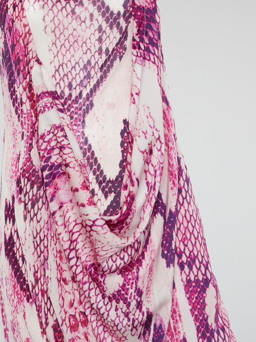 Pink Reptile Print Cowl Mini Dress