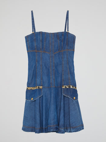 Blue Flared Denim Dress