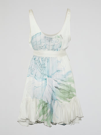 White Printed Frill Hem Dress