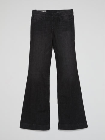 Black Flared Denim Jeans