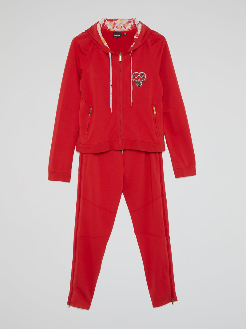 Red Drawstring Active Suit