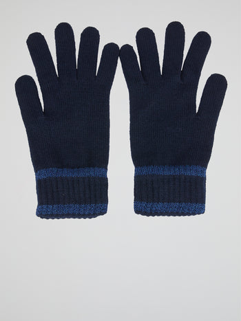 Navy Ribbed Gloves