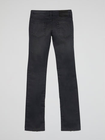 Black Distressed Straight Cut Jeans