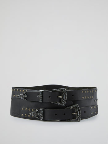 Black Multi-Buckle Studded Belt