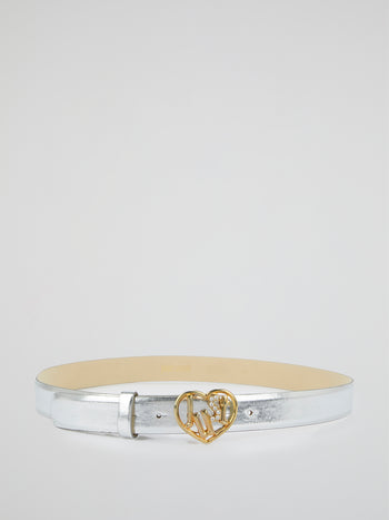 Silver Metallic Heart Buckle Belt