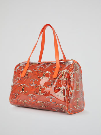 Orange Monogram Print Handbag