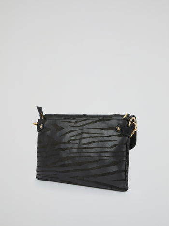 Black Zebra Effect Leather Handbag