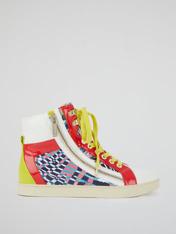 Colour Block Lace-Up Sneakers