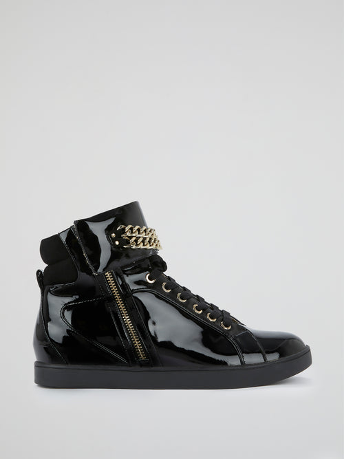 Black Patent Leather High-Top Shoes