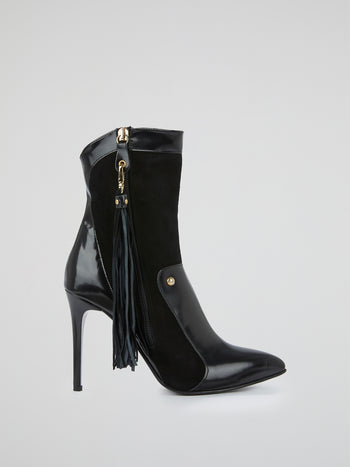 Black Tassel-Detail Boots