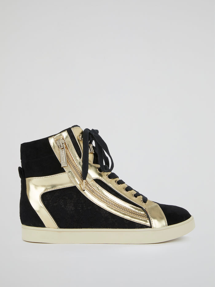 Gold Panel High-Top Sneakers