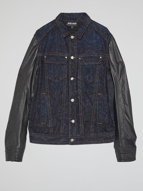 Leather Sleeve Denim Jacket