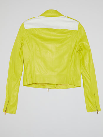 Chartreuse Leather Biker Jacket