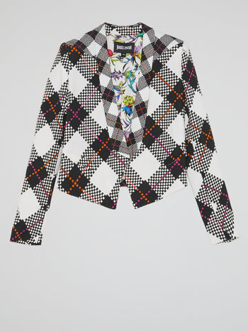 White Plaid Blazer