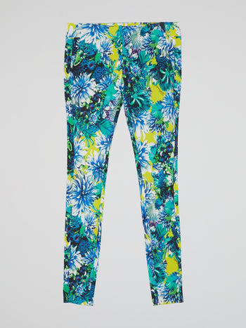Floral Print Waistband Trousers