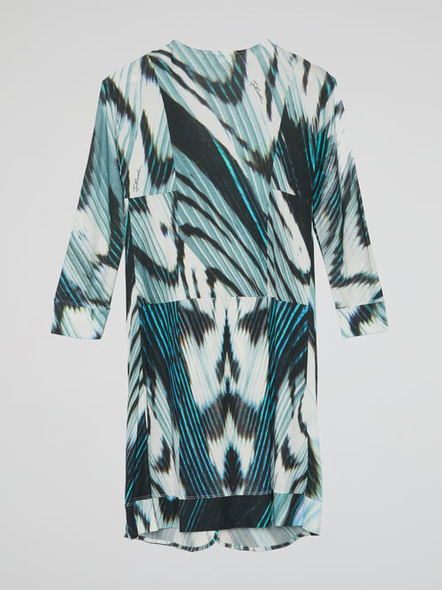 Printed Tie-Front Robe Dress