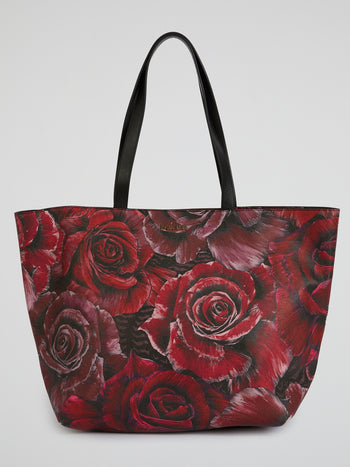 Rose Print Leather Tote Bag