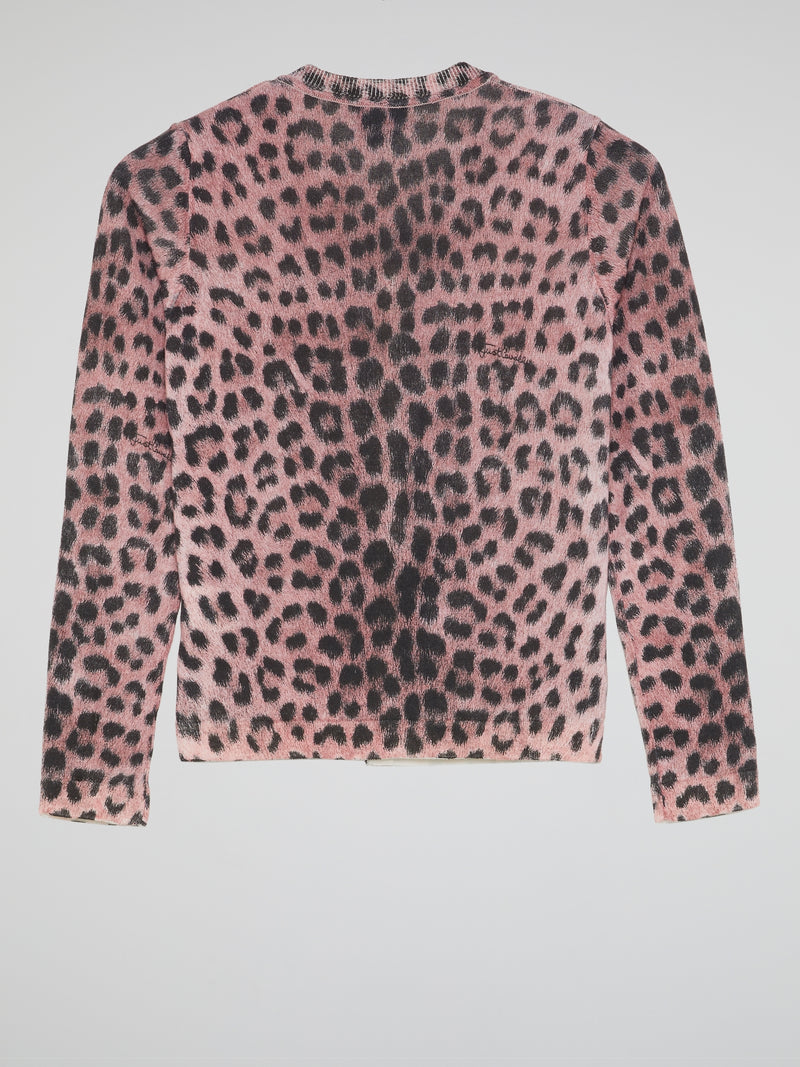 Pink Leopard Print Button Up Top