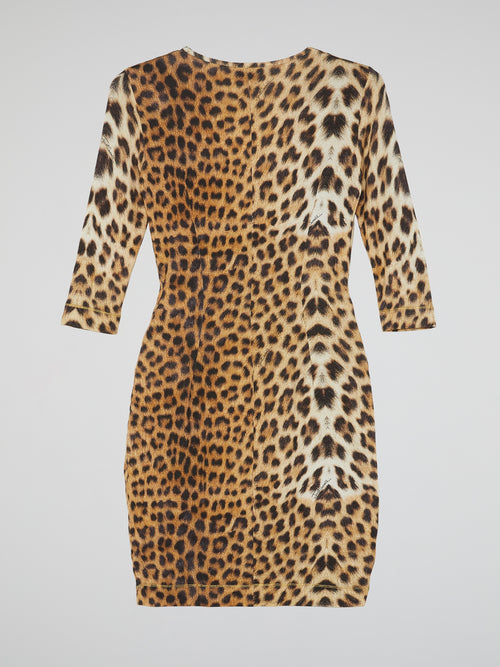 Leopard Print Scoop Neck Dress