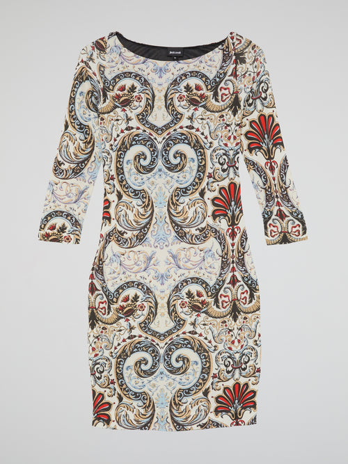Paisley Print Bateau Neck Dress
