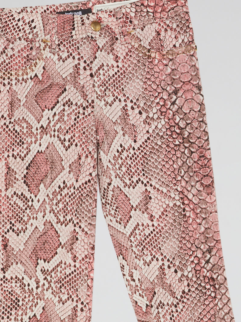 Pink Snake Print Jeans