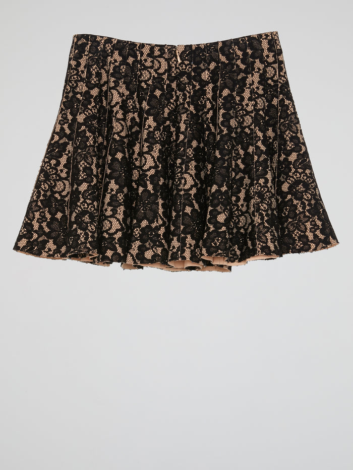 Black Lace Pleated Mini Skirt