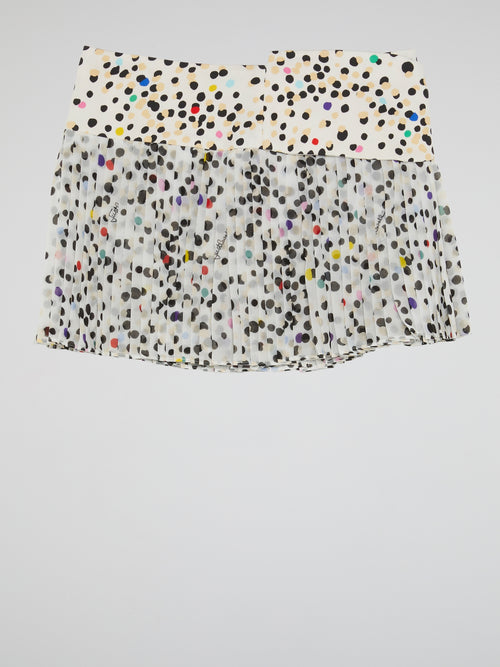 Polka Dot Pleated Mini Skirt